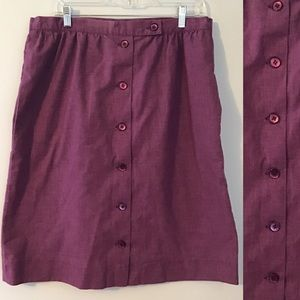 Vintage 70's 80's Purple Button Down Midi Skirt